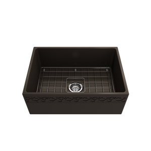 "BOCCHI Vigneto Apron Front Fireclay 27"" Single Bowl Kitchen Sink with Protective Bottom Grid and Strainer 1357-025-0120 Matte Brown"
