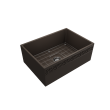 "Load image into Gallery viewer, BOCCHI Vigneto Apron Front Fireclay 27"" Single Bowl Kitchen Sink with Protective Bottom Grid and Strainer 1357-025-0120 Matte Brown"
