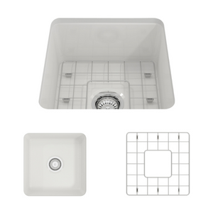"BOCCHI Sotto Undermount Fireclay 18"" Single Bowl Kitchen Sink with Protective Bottom Grid and Strainer 1359-001-0120 White"