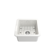"Load image into Gallery viewer, BOCCHI Sotto Undermount Fireclay 18"" Single Bowl Kitchen Sink with Protective Bottom Grid and Strainer 1359-001-0120 White"