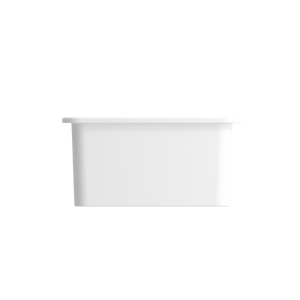 "BOCCHI Sotto Undermount Fireclay 18"" Single Bowl Kitchen Sink with Protective Bottom Grid and Strainer 1359-002-0120 Matte White"