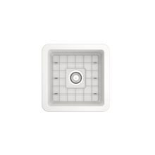 "Load image into Gallery viewer, BOCCHI Sotto Undermount Fireclay 18"" Single Bowl Kitchen Sink with Protective Bottom Grid and Strainer 1359-002-0120 Matte White"
