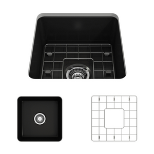 "BOCCHI Sotto Undermount Fireclay 18"" Single Bowl Kitchen Sink with Protective Bottom Grid and Strainer 1359-004-0120 Matte Black"