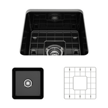 "Load image into Gallery viewer, BOCCHI Sotto Undermount Fireclay 18"" Single Bowl Kitchen Sink with Protective Bottom Grid and Strainer 1359-005-0120 Black"