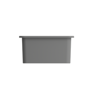 "BOCCHI Sotto Undermount Fireclay 18"" Single Bowl Kitchen Sink with Protective Bottom Grid and Strainer 1359-006-0120 Matte Gray"