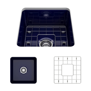 "BOCCHI Sotto Undermount Fireclay 18"" Single Bowl Kitchen Sink with Protective Bottom Grid and Strainer 1359-010-0120 Sapphire Blue"