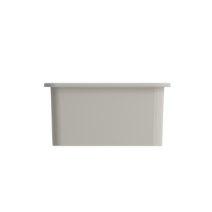 "BOCCHI Sotto Undermount Fireclay 18"" Single Bowl Kitchen Sink with Protective Bottom Grid and Strainer 1359-014-0120 Biscuit"