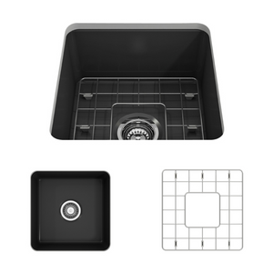 "BOCCHI Sotto Undermount Fireclay 18"" Single Bowl Kitchen Sink with Protective Bottom Grid and Strainer 1359-020-0120 Matte Dark Gray"