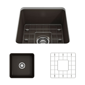 "BOCCHI Sotto Undermount Fireclay 18"" Single Bowl Kitchen Sink with Protective Bottom Grid and Strainer 1359-025-0120 Matte Brown"