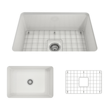 "Load image into Gallery viewer, BOCCHI Sotto Undermount Fireclay 27"" Single Bowl Kitchen Sink with Protective Bottom Grid and Strainer 1360-001-0120 White"