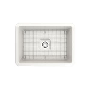 "BOCCHI Sotto Undermount Fireclay 27"" Single Bowl Kitchen Sink with Protective Bottom Grid and Strainer 1360-001-0120 White"