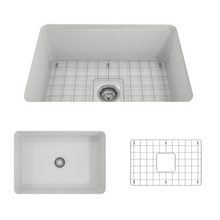 "Load image into Gallery viewer, BOCCHI Sotto Undermount Fireclay 27"" Single Bowl Kitchen Sink with Protective Bottom Grid and Strainer 1360-002-0120 Matte White"