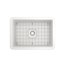 "Load image into Gallery viewer, Sotto Undermount Fireclay 27"" Single Bowl Kitchen Sink with Protective Bottom Grid and Strainer"