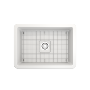 "BOCCHI Sotto Undermount Fireclay 27"" Single Bowl Kitchen Sink with Protective Bottom Grid and Strainer 1360-002-0120 Matte White"