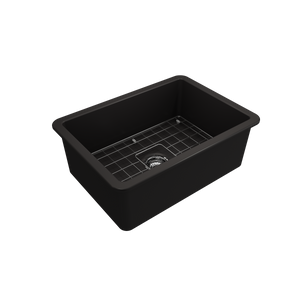 "BOCCHI Sotto Undermount Fireclay 27"" Single Bowl Kitchen Sink with Protective Bottom Grid and Strainer 1360-004-0120 Matte Black"