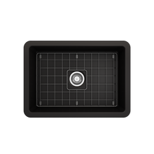 "Load image into Gallery viewer, BOCCHI Sotto Undermount Fireclay 27"" Single Bowl Kitchen Sink with Protective Bottom Grid and Strainer 1360-004-0120 Matte Black"