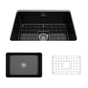 "BOCCHI Sotto Undermount Fireclay 27"" Single Bowl Kitchen Sink with Protective Bottom Grid and Strainer 1360-005-0120 Black"