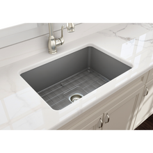 "Load image into Gallery viewer, BOCCHI Sotto Undermount Fireclay 27"" Single Bowl Kitchen Sink with Protective Bottom Grid and Strainer 1360-006-0120 Matte Gray"