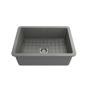 "BOCCHI Sotto Undermount Fireclay 27"" Single Bowl Kitchen Sink with Protective Bottom Grid and Strainer 1360-006-0120 Matte Gray"