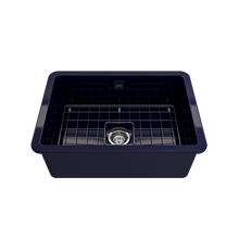 "Load image into Gallery viewer, BOCCHI Sotto Undermount Fireclay 27"" Single Bowl Kitchen Sink with Protective Bottom Grid and Strainer 1360-010-0120 Sapphire Blue"