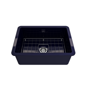 "BOCCHI Sotto Undermount Fireclay 27"" Single Bowl Kitchen Sink with Protective Bottom Grid and Strainer 1360-010-0120 Sapphire Blue"