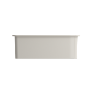 "BOCCHI Sotto Undermount Fireclay 27"" Single Bowl Kitchen Sink with Protective Bottom Grid and Strainer 1360-014-0120 Biscuit"
