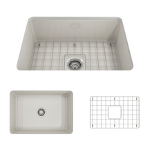 "Load image into Gallery viewer, BOCCHI Sotto Undermount Fireclay 27"" Single Bowl Kitchen Sink with Protective Bottom Grid and Strainer 1360-014-0120 Biscuit"
