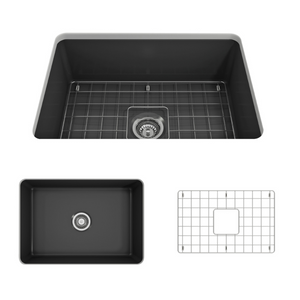 "BOCCHI Sotto Undermount Fireclay 27"" Single Bowl Kitchen Sink with Protective Bottom Grid and Strainer 1360-020-0120 Matte Dark Gray"