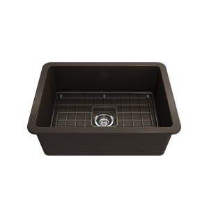 "BOCCHI Sotto Undermount Fireclay 27"" Single Bowl Kitchen Sink with Protective Bottom Grid and Strainer 1360-025-0120 Matte Brown"