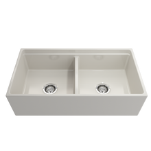 "Load image into Gallery viewer, BOCCHI Contempo Apron Front Workstation Step Rim Fireclay 36"" Double Bowl Kitchen Sink with Protective Bottom Grid and Strainer 1348-014-0120 Biscuit"