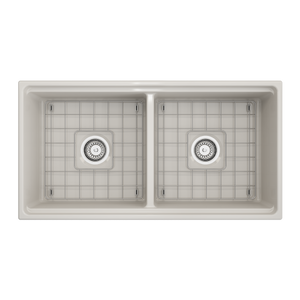 "BOCCHI Contempo Apron Front Workstation Step Rim Fireclay 36"" Double Bowl Kitchen Sink with Protective Bottom Grid and Strainer 1348-014-0120 Biscuit"