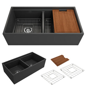 "BOCCHI Contempo Apron Front Workstation Step Rim Fireclay 36"" Double Bowl Kitchen Sink with Protective Bottom Grid and Strainer 1348-020-0120 Matte Dark Gray"