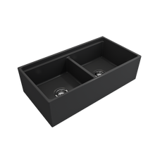 "Load image into Gallery viewer, BOCCHI Contempo Apron Front Workstation Step Rim Fireclay 36"" Double Bowl Kitchen Sink with Protective Bottom Grid and Strainer 1348-020-0120 Matte Dark Gray"
