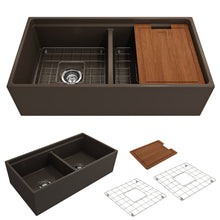 "Load image into Gallery viewer, BOCCHI Contempo Apron Front Workstation Step Rim Fireclay 36"" Double Bowl Kitchen Sink with Protective Bottom Grid and Strainer 1348-025-0120 Matte Brown"