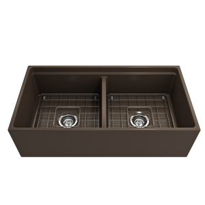 "BOCCHI Contempo Apron Front Workstation Step Rim Fireclay 36"" Double Bowl Kitchen Sink with Protective Bottom Grid and Strainer 1348-025-0120 Matte Brown"