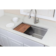 "Load image into Gallery viewer, Wells Sinkware Handcrafted 32"" Undermount Single Bowl Stainless Steel Kitchen Sink with Companion Stainless Steel Colander, Bottom Protection Grid Rack and Rubber Wood Cutting Board"
