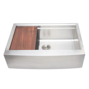 "Wells Sinkware 33"" Apron Front Farmhouse Stainless Steel Kitchen Sink w/ Stainless Steel Colander, Bottom Protection Grid Rack and Rubber Wood Cutting Board 3D 3322-9-AP-1"
