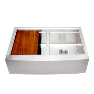 "Wells Sinkware 33"" Apron Front Farmhouse 50/50 Stainless Steel Kitchen Sink w/ Stainless Steel Colander and Rubber Wood Cutting Board 3D 3322-99-AP-1"