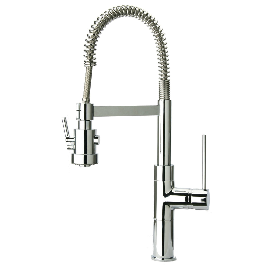 LaToscana Mini Marilyn Single Handle Pull-Out Spray Kitchen Faucet In Chrome & Brushed Nickel - 78CR557PHD 78PW557PHD