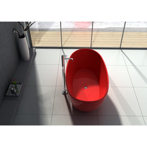"Legion Furniture 64.2"" Matte White or Red Solid Surface Tub, No Faucet WJ8611-W / WJ8611-R"