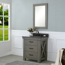 "Load image into Gallery viewer, Water Creation 30"" Grizzle Grey Single Sink Bathroom Vanity with Mirror with Blue Limestone Counter Top From The ABERDEEN Collection VAB030BLGG01"