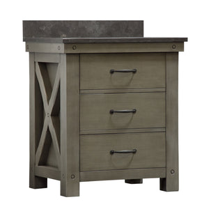 "Water Creation 30"" Grizzle Grey Single Sink Bathroom Vanity with Mirror with Blue Limestone Counter Top From The ABERDEEN Collection VAB030BLGG01"