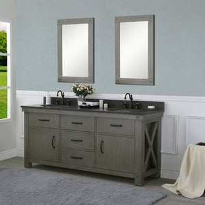 "Water Creation 72"" Grizzle Grey Double Sink Bathroom Vanity with Mirrors and Faucets with Blue Limestone Counter Top From The ABERDEEN Collection VAB072BLGG05"