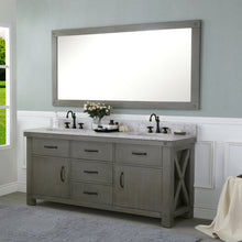 "Load image into Gallery viewer, Water Creation 72"" Grizzle Grey Double Sink Bathroom Vanity with Carrara White Marble Counter Top From The ABERDEEN Collection VAB072CWGG00"