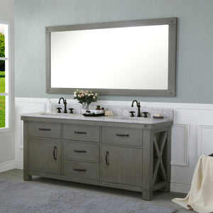 "Water Creation 72"" Grizzle Grey Double Sink Bathroom Vanity with Carrara White Marble Counter Top From The ABERDEEN Collection VAB072CWGG00"