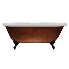 "Load image into Gallery viewer, Cambridge Plumbing Acrylic Slipper Clawfoot Bathtub 60"" x 29"" Faux Copper Bronze Finish w/ Oil Bronzed Feet ADE60-DH-ORB-CB/ADE60-NH-ORB-CB"