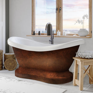 "Cambridge Plumbing 68"" x 29"" Acrylic Double Ended Slipper Pedestal Tub in Copper Bronze Finish ADES-PED-NH-CB"
