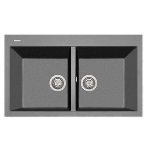 "LaToscana Plados 34"" x 20"" Double Basin Granite Drop-In Sink in a Titanium AM8620-42"