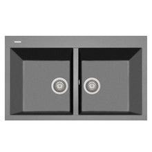 "Load image into Gallery viewer, LaToscana Plados 34"" x 20"" Double Basin Granite Drop-In Sink in a Titanium, Black Metallic, Milk White and Brown Finish"
