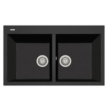 "Load image into Gallery viewer, LaToscana Plados 34"" x 20"" Double Basin Granite Drop-In Sink in a Black Metallic AM8620-44"